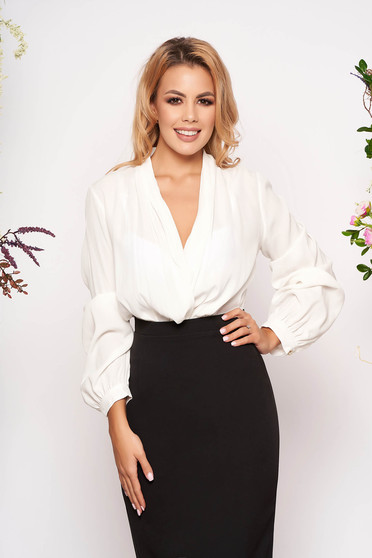 White body elegant long sleeved with deep cleavage wrap over front thin fabric