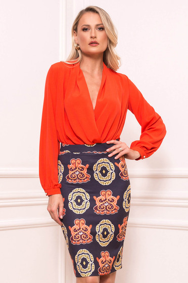 Coral body elegant long sleeved with deep cleavage wrap over front thin fabric
