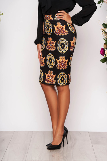 Black short cut elegant pencil skirt with graphic details without clothing from thin scuba fabric