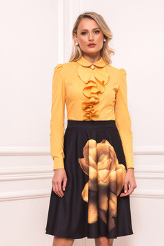 Mustard women`s shirt elegant short cut with ruffles on the chest tented long sleeved with large collar