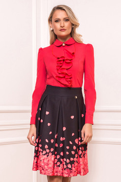 Coral women`s shirt elegant short cut with ruffles on the chest tented long sleeved with large collar