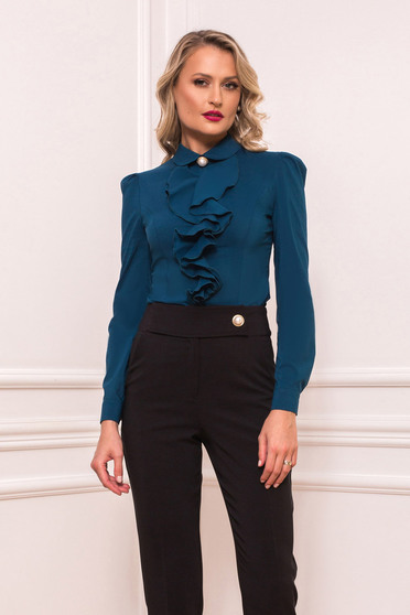 Dirty green women`s shirt elegant short cut with ruffles on the chest tented long sleeved with large collar