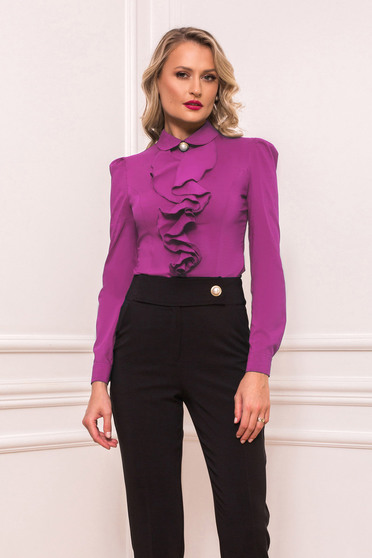 Purple women`s shirt elegant short cut with ruffles on the chest tented long sleeved with large collar