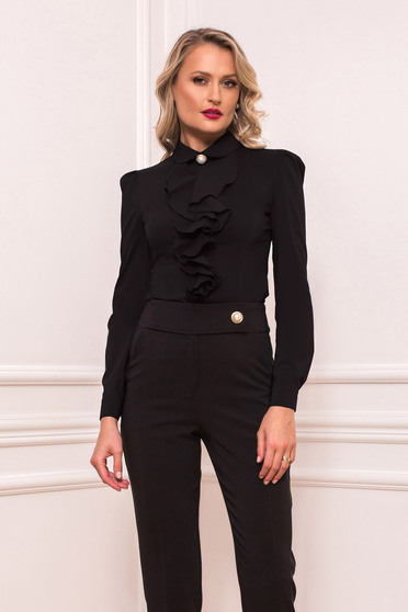 Black women`s shirt elegant short cut with ruffles on the chest tented long sleeved with large collar