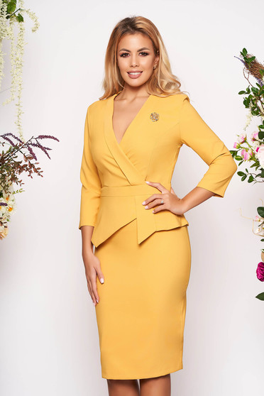 Mustard dress elegant short cut pencil peplum accessorized with breastpin wrap over front