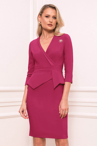 Raspberry dress elegant short cut pencil peplum accessorized with breastpin wrap over front