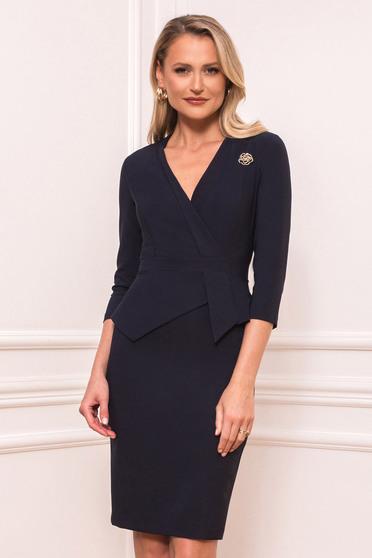 Darkblue dress elegant short cut pencil peplum accessorized with breastpin wrap over front