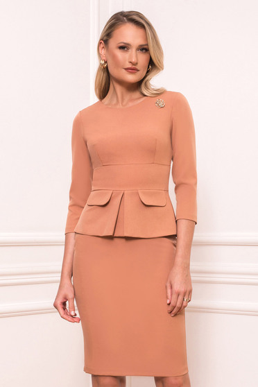 Cream dress occasional midi pencil cloth thin fabric with 3/4 sleeves with rounded cleavage peplum