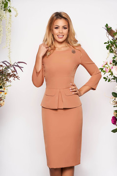 Cream occasional midi pencil dress cloth thin fabric with 3/4 sleeves with rounded cleavage peplum