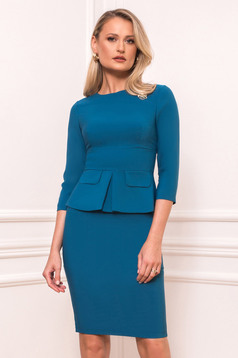Dirty green occasional midi pencil dress cloth thin fabric with 3/4 sleeves with rounded cleavage peplum