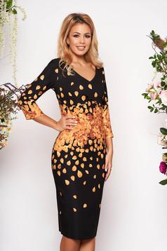 Black elegant midi cloth dress slightly elastic fabric short sleeves with v-neckline