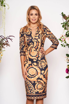 Gold dress midi pencil elegant with v-neckline with 3/4 sleeves with graphic details
