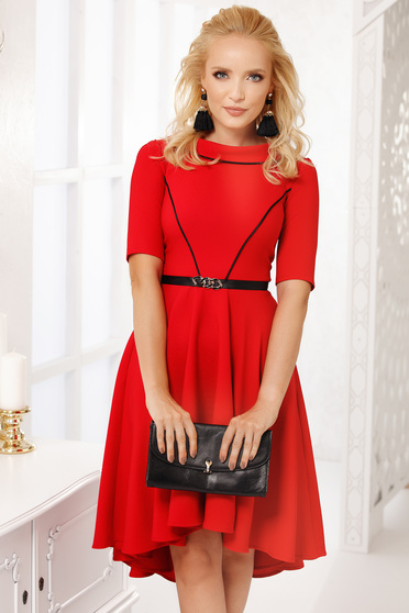 Red dress occasional with pockets cloche asymmetrical midi cloth