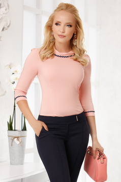 Lightpink women`s shirt elegant cotton tented with collar with rounded cleavage