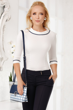 White women`s shirt elegant cotton tented with collar with rounded cleavage