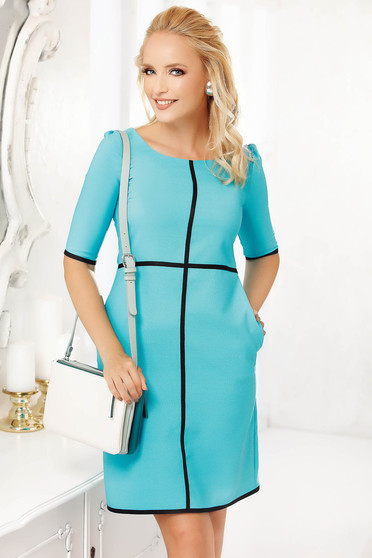 Lightblue dress occasional short cut cloche cloth with pockets with 3/4 sleeves