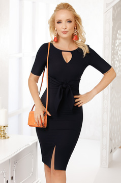 Darkblue occasional midi pencil dress thin cloth with short sleeves cut-out bust design
