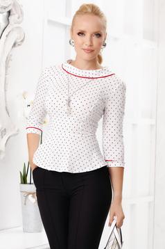 White women`s shirt elegant short cut tented cotton peplum with graphic details