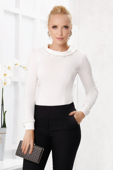 Ivory women`s shirt elegant tented cotton long sleeve with collar handmade macrame detail