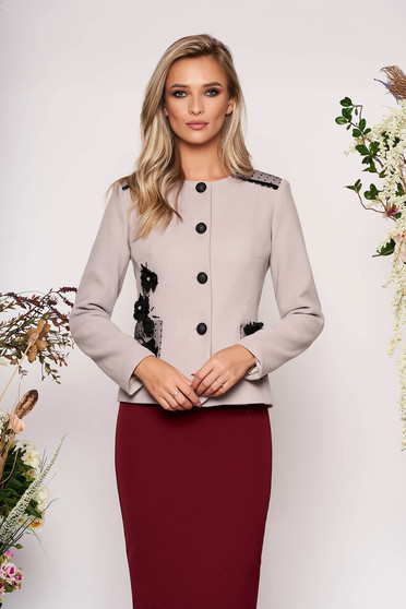 Grey jacket occasional short cut long sleeve tented thick fabric with front pockets with round collar