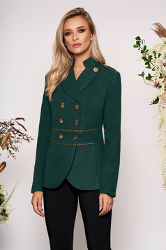 Darkgreen jacket elegant tented short cut thick fabric closure with gold buttons long sleeve