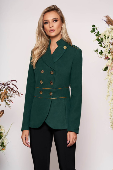Darkgreen jacket elegant short cut thick fabric closure with gold buttons long sleeve