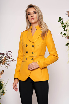 Mustard jacket elegant tented short cut thick fabric closure with gold buttons long sleeve