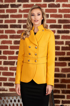Mustard jacket elegant short cut thick fabric closure with gold buttons long sleeve