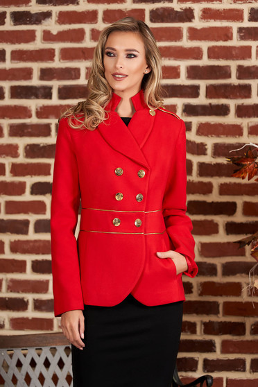 Red jacket elegant short cut thick fabric closure with gold buttons long sleeve