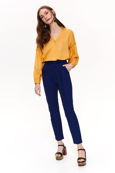 Darkblue trousers casual long high waisted cotton accessorized with tied waistband with front pockets