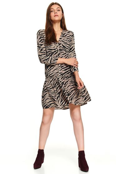 Yellow casual daily short cut animal print dress with 3/4 sleeves