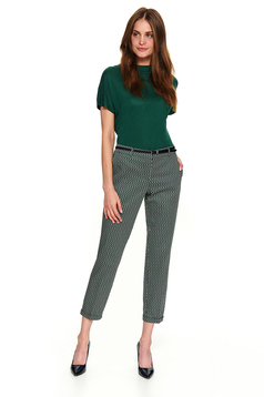 Black trousers straight with pockets with graphic details accessorized with belt casual