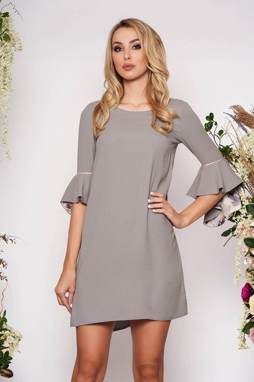 StarShinerS grey dress elegant short cut flared neckline with 3/4 sleeves with bell sleeve without clothing