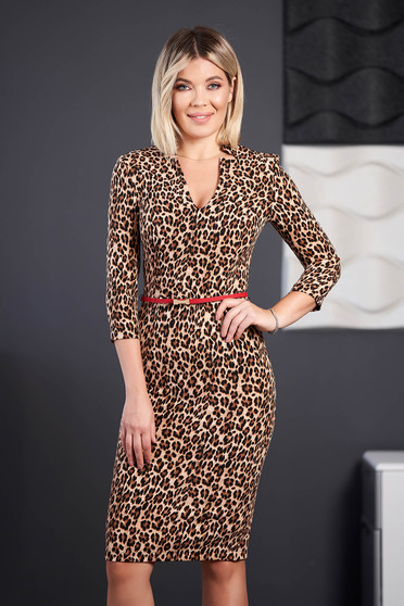 StarShinerS brown dress office midi pencil with 3/4 sleeves with v-neckline faux leather belt without clothing