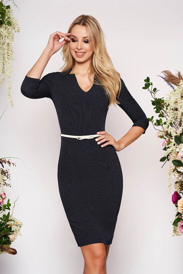 StarShinerS darkblue dress office midi pencil with 3/4 sleeves with v-neckline faux leather belt without clothing