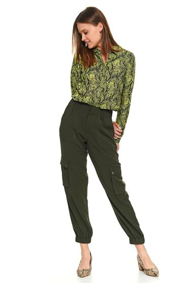 Green women`s shirt casual short cut long sleeve snake print with buttons