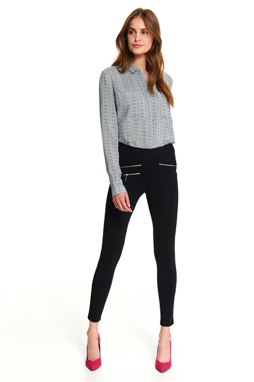 White office short cut flared women`s shirt with long sleeves and graphic details