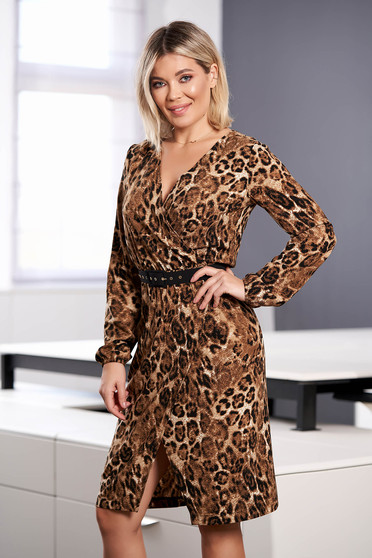 StarShinerS brown dress elegant midi with v-neckline wrap over front with elastic waist long sleeved accessorized with belt straight