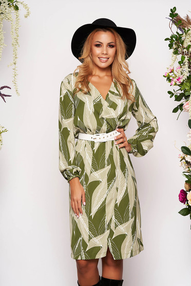 StarShinerS green dress elegant midi with v-neckline wrap over front with elastic waist long sleeved accessorized with belt straight