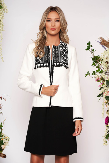White jacket elegant short cut tented wool long sleeved with padded shoulders