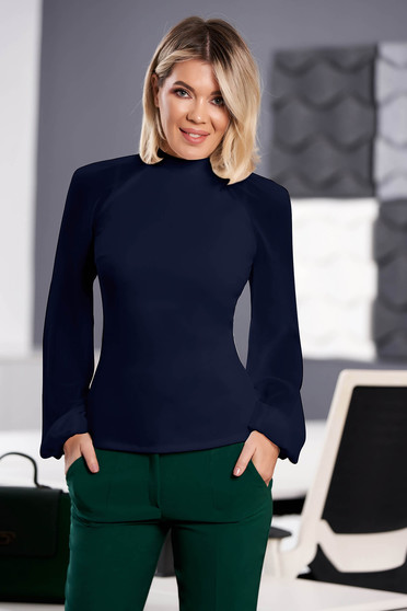 StarShinerS darkblue women`s blouse elegant from elastic fabric long sleeved with easy cut