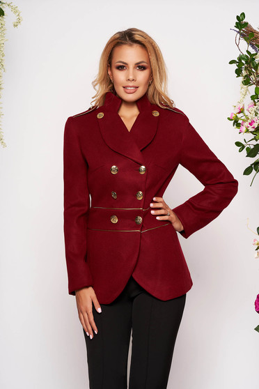 Burgundy jacket elegant short cut thick fabric closure with gold buttons long sleeve