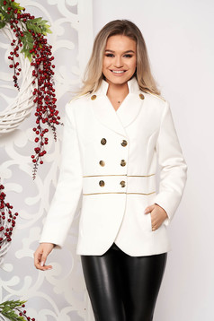 White jacket elegant short cut thick fabric closure with gold buttons long sleeve