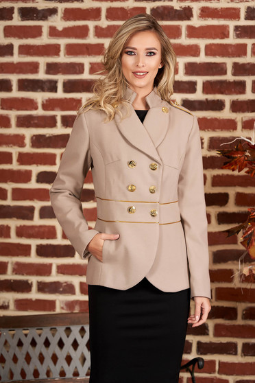 Cappuccino jacket elegant short cut thick fabric closure with gold buttons long sleeve