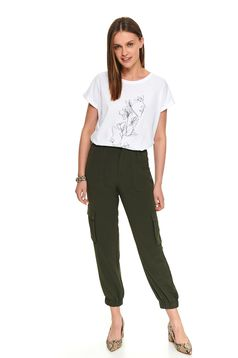 Green trousers casual high waisted with pockets long