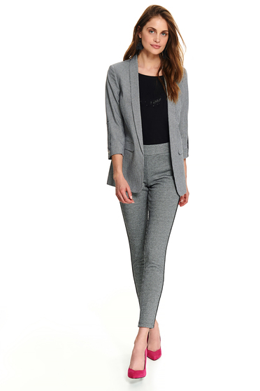Black jacket office short cut flared with faux pockets with 3/4 sleeves with no closure