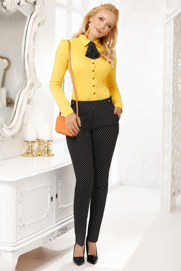 Black trousers elegant with pockets cloth thin fabric conical with graphic details