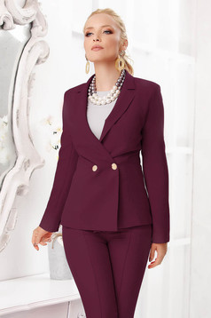 Burgundy jacket elegant short cut tented cloth with padded shoulders closure with gold buttons