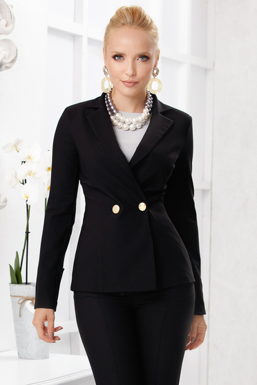 Black jacket elegant short cut tented cloth with padded shoulders closure with gold buttons