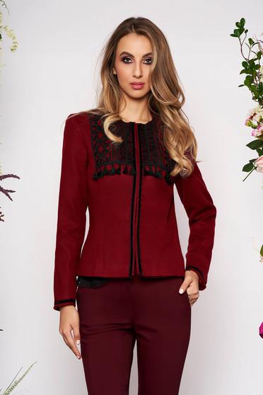 Burgundy jacket elegant short cut tented wool long sleeved with padded shoulders
